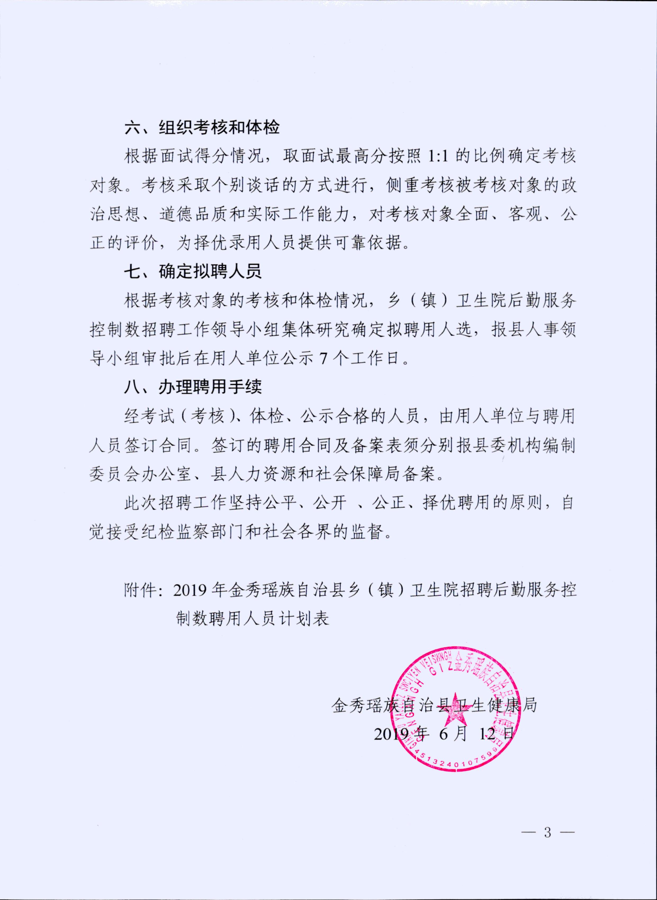 2019广西来宾金秀瑶族自治县乡(镇)卫生院招聘9人公告